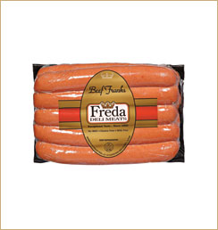 Natural Casing Franks 2lb - Freda Deli Meats